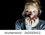 scary woman afraid of something ... | Shutterstock . vector #262033412