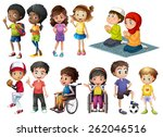 children in different positions ... | Shutterstock .eps vector #262046516