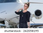 business woman leaving a... | Shutterstock . vector #262058195