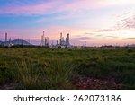 oil refinery at twilight   Shutterstock . vector #262073186
