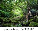 idyllic tropical beach paradise ... | Shutterstock . vector #262085336