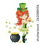 pretty leprechaun girl with... | Shutterstock .eps vector #262088456