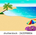 tropical beach with palm trees  | Shutterstock .eps vector #262098806