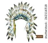 watercolor  stain  war bonnet ... | Shutterstock .eps vector #262116518