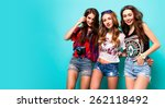 three best friends posing in... | Shutterstock . vector #262118492