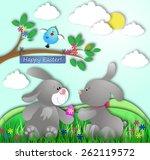 cute bunnies celebrate easter | Shutterstock . vector #262119572