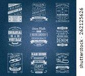 denim jeans white typography... | Shutterstock .eps vector #262125626