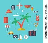 summer vacation flat modern... | Shutterstock .eps vector #262146686