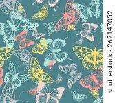 vector butterflies pattern.... | Shutterstock .eps vector #262147052