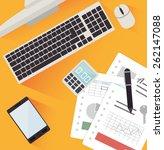 spreadsheet design over yellow... | Shutterstock .eps vector #262147088