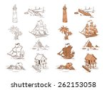 set of sketch objects for game... | Shutterstock .eps vector #262153058