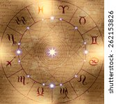 magic circle of zodiac signs on ... | Shutterstock .eps vector #262153826