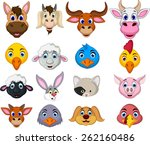 farm animal head cartoon... | Shutterstock .eps vector #262160486