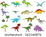 dinosaur cartoon set  | Shutterstock .eps vector #262160876