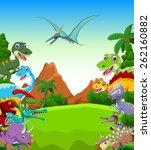 Dinosaur Cartoon With Landscap...