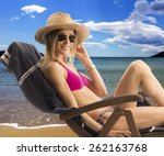 woman in bikini on the beach | Shutterstock . vector #262163768