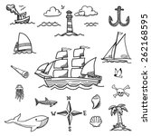 boat and sea hand drawn doodles | Shutterstock .eps vector #262168595