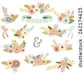 vintage floral bouquet set | Shutterstock .eps vector #262174625
