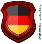 germany flag on a red glossy... | Shutterstock .eps vector #262175372