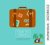 luggage leather suitcase  with... | Shutterstock .eps vector #262186112