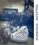 vintage sewing arrangement | Shutterstock . vector #262197932