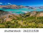Lyttelton harbor from the Cavendish mountain, Christchurch, South island of New Zealand