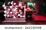 laptop with social media... | Shutterstock . vector #262230548