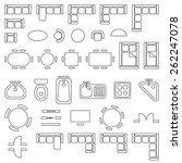 standard furniture symbols used ... | Shutterstock .eps vector #262247078