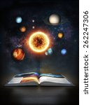 Discovering science, Open book revealing the solar system - stock photo