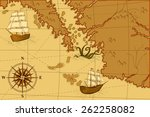 old map with a compass and... | Shutterstock .eps vector #262258082