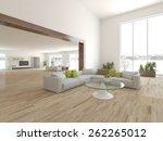 white interior design 3d... | Shutterstock . vector #262265012