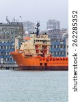 Small photo of Varna, BULGARIA - March 7, 2015: Supply ship TOISA INVINCIBLE moored at Port of Varna-East. The vessel will take part in the construction of gas pipeline from Russia to Europe.