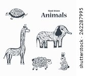sketch black and white animals. ... | Shutterstock .eps vector #262287995