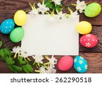 easter eggs on meadow with... | Shutterstock . vector #262290518