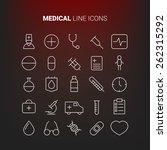 white line medical icons.... | Shutterstock .eps vector #262315292