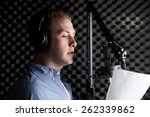 man in recording studio talking ... | Shutterstock . vector #262339862