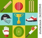 vector set of cricket icons in... | Shutterstock .eps vector #262355945