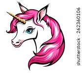 head of cute white unicorn with ... | Shutterstock .eps vector #262360106