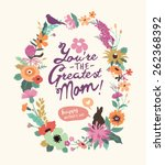 vintage style mother's day... | Shutterstock .eps vector #262368392