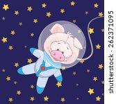 pig astronaut on a stars... | Shutterstock . vector #262371095
