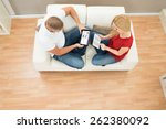 high view of young couple using ... | Shutterstock . vector #262380092