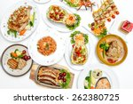 many food on dining table in... | Shutterstock . vector #262380725