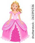 pretty l princess in pink dress ... | Shutterstock .eps vector #262392536