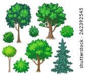 Set Of Cartoon Trees And Shrub...