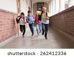 cute pupils running down the... | Shutterstock . vector #262412336