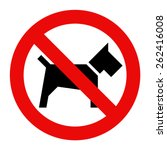 no dogs sign isolated on white... | Shutterstock .eps vector #262416008