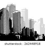 black and white panorama cities.... | Shutterstock .eps vector #262448918