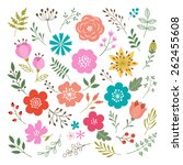 Stock vector set of flowers and floral elements isolated on white background 262455608