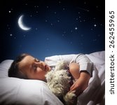 child sleeping and dreaming in... | Shutterstock . vector #262455965