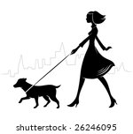 Girl Walking A Dog. Vector...